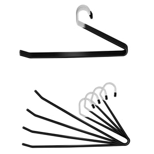 IPOW Upgraded 24 Pack Heavy Duty Slacks/Trousers Pants Hangers Open Ended Hanger Easy Slide Organizers, Metal Rod with a Large Diameter, Chrome and Black Friction
