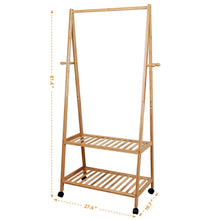 Selection songmics rolling coat rack bamboo garment rack clothes hanging rail with 2 shelves 4 hooks for shoes hats and scarves in the hallway living room guest room