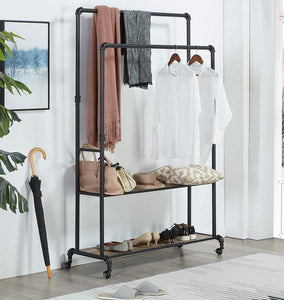 Budget friendly homissue 72 inch industrial pipe double rail hall tree with shoe storage on wheel 2 shelf rolling clothes rack organizer with 2 hanging rod for garment storage display vintage brown