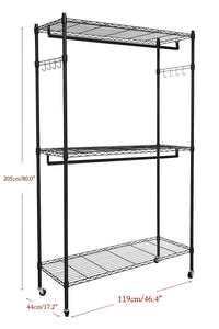 Great hindom free standing closet garment rack with wheels and side hooks 3 tiers large size heavy duty rolling clothes rack closet storage organizer us stock