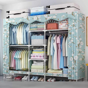 The best cloth wardrobe bedroom storage shading cloth steel pipe large size hanging clothes organizer simple home portable storage closet for clothes 79x18x65inch