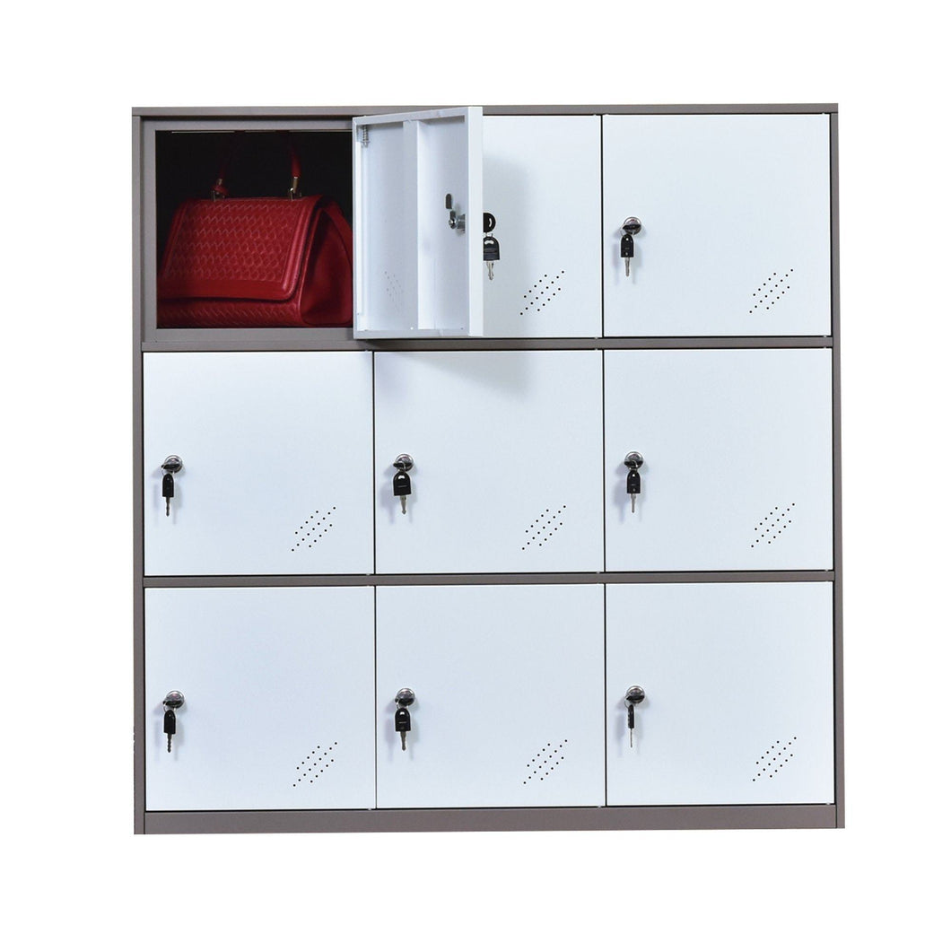 Latest 9 door metal locker office cabinet locker living room and school locker organizer home locker organizer storage for kids bedroom and office storage cabinet with doors and lock for cloth white