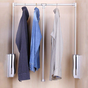 Buy gimify pull down closet rod wardrobe lift organizer storage systerm hanger rod for hanging clothes space saving aluminum adjustable 32 68 42 28inch