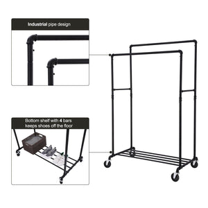 Budget friendly songmics industrial pipe double rail wheels with commercial grade clothing hanging rack organizer for garment storage display black uhsr60b