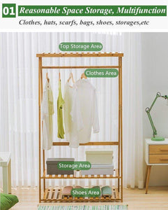 Heavy duty copree bamboo garment coat clothes hanging heavy duty rack with top shelf and 2 tier shoe clothing storage organizer shelves