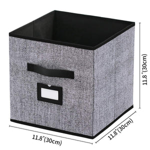 Amazon onlyeasy foldable cloth storage bins cubes box set of 6 home closet cubby bookcase nursery drawers organizers with label holders and dual leather handles 12x12x12 inch linen like black 7mxab06plp