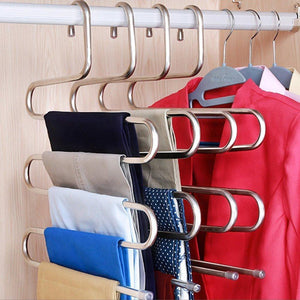 DOIOWN Pants Hangers S-Shape Stainless Steel Clothes Hangers Space Saving Hangers Closet Organizer for Pants Jeans Scarf(5 Layers,10Pcs)