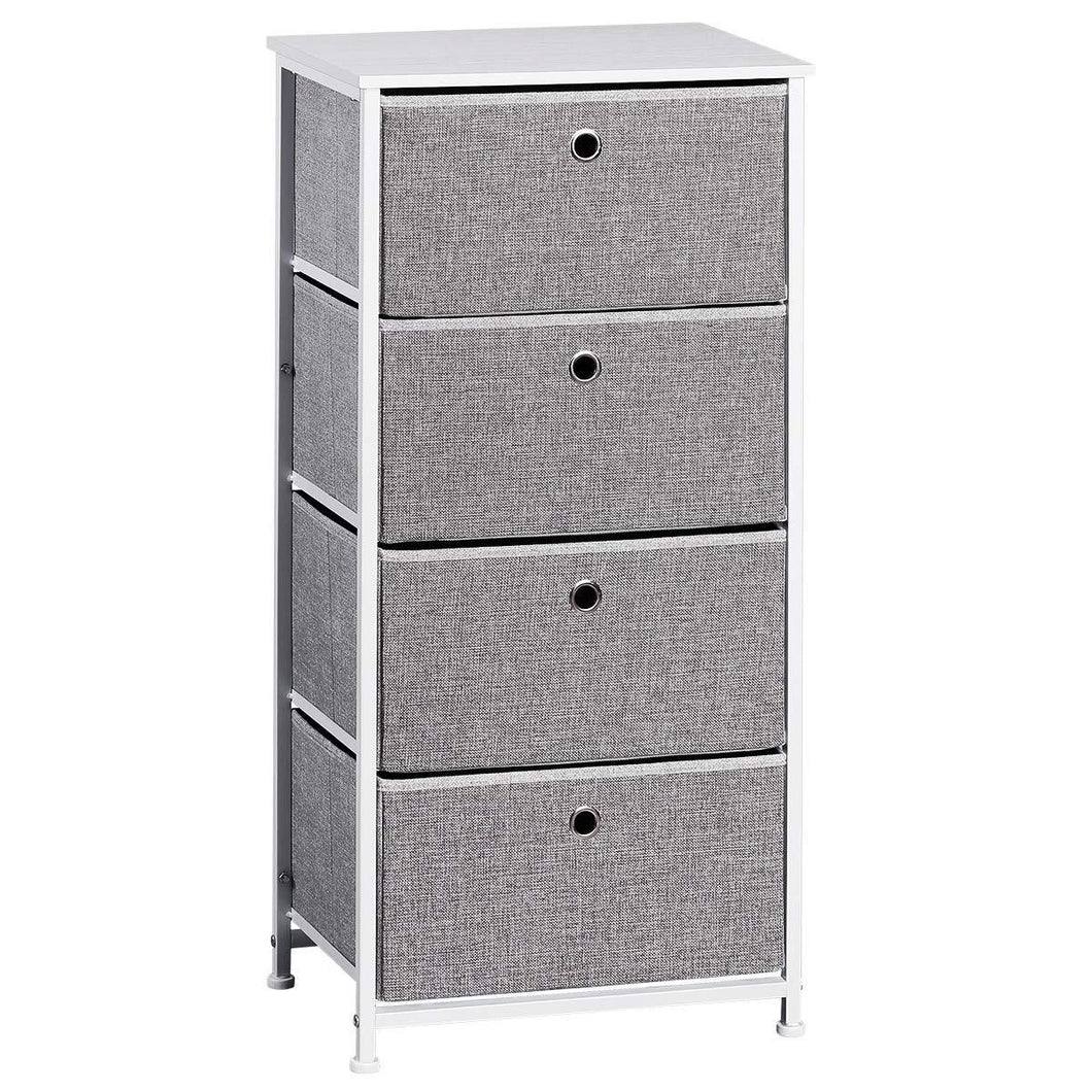 Explore langria 4 drawer home dresser storage tower clothes organizer with easy pull faux linen drawers and metal frame features wooden tabletop premium finish for guest room dorm hallway or office grey