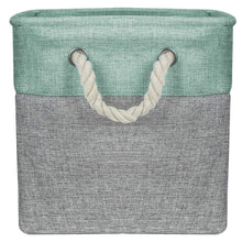 Top rated sorbus storage large basket set 3 pack big rectangular fabric collapsible organizer bin with cotton rope carry handles for linens toys clothes kids room nursery woven rope basket teal