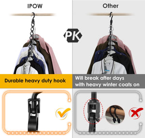 Best seller  ipow 6 pack magic hanger heavy duty plastic closet space saving hanger wardrobe clothing cascading hanger organizer for easy wrinkle free shirts pants and coats