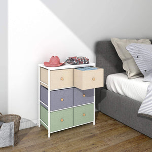 Top rated lifewit small storage drawer unit with metal frame for children small clothes organizer with wooden tabletop for livingroom bedroom cabinet with 6 easy pull fabric drawers 3 tier