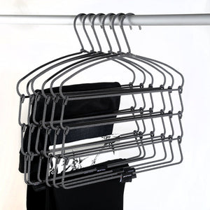 BESTOOL Hangers - Heavy Duty Pant Hangers - Non Slip Space Saving Trouser Hanger Wire Stainless Steel Flocked Hangers for Men Women and Kids Clothes - 4 Tier Laundry Closet Hanger (6 Pack)