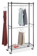 Heavy duty whitmor supreme double rod garment rack rolling clothes organizer black with chrome