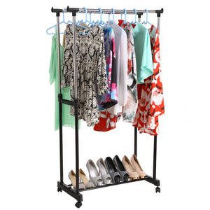 Kitchen bluefringe drying rack best houseware heavy duty double rail clothes laundry cloth dryer laundry rack for jacket dress towels shirts