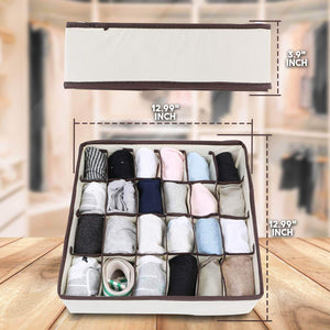Save skyugle sock organizer underwear drawer divider 24 cell collapsible closet foldable clothes tie handkerchief wardrobe cabinet storage boxes beige 2 packs 1 mesh laundry bag for sock underwear
