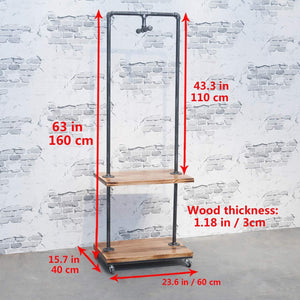 Order now industrial pipe clothing rack with wood shelves steampunk iron garment rack on wheels vintage rolling cloths racks for hanging clothes commercial grade clothes racks retail display clothing shelf