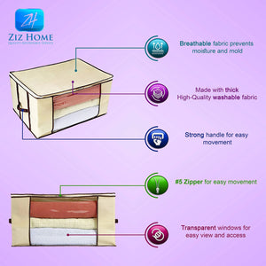 Cheap ziz home blankets clothes storage bag 3 pack breathable anti mold material closet organization used for linen storage blanket storage sweater storage duvet storage bags eco friendly clear window