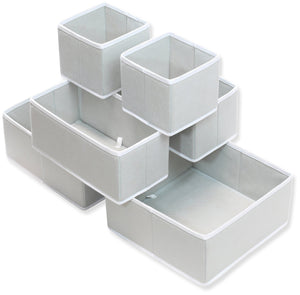 Storage simple houseware foldable cloth storage box closet dresser drawer divider organizer basket bins for underwear bras gray set of 6
