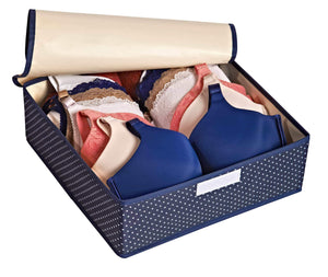 Best seller  topline goods spark premium set of 3 foldable covered drawer organizer closet organizer for socks bras for women underwear baby clothes belts scarves blue