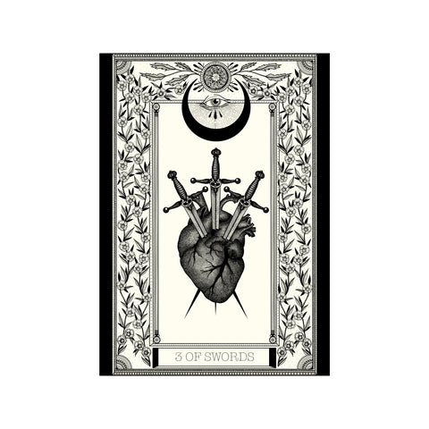3 of Swords Tarot Premium Large Print - abandon-ship-art