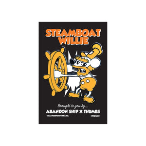Thumbs X ASA Steamboat Willie Pin Badge - abandon-ship-art