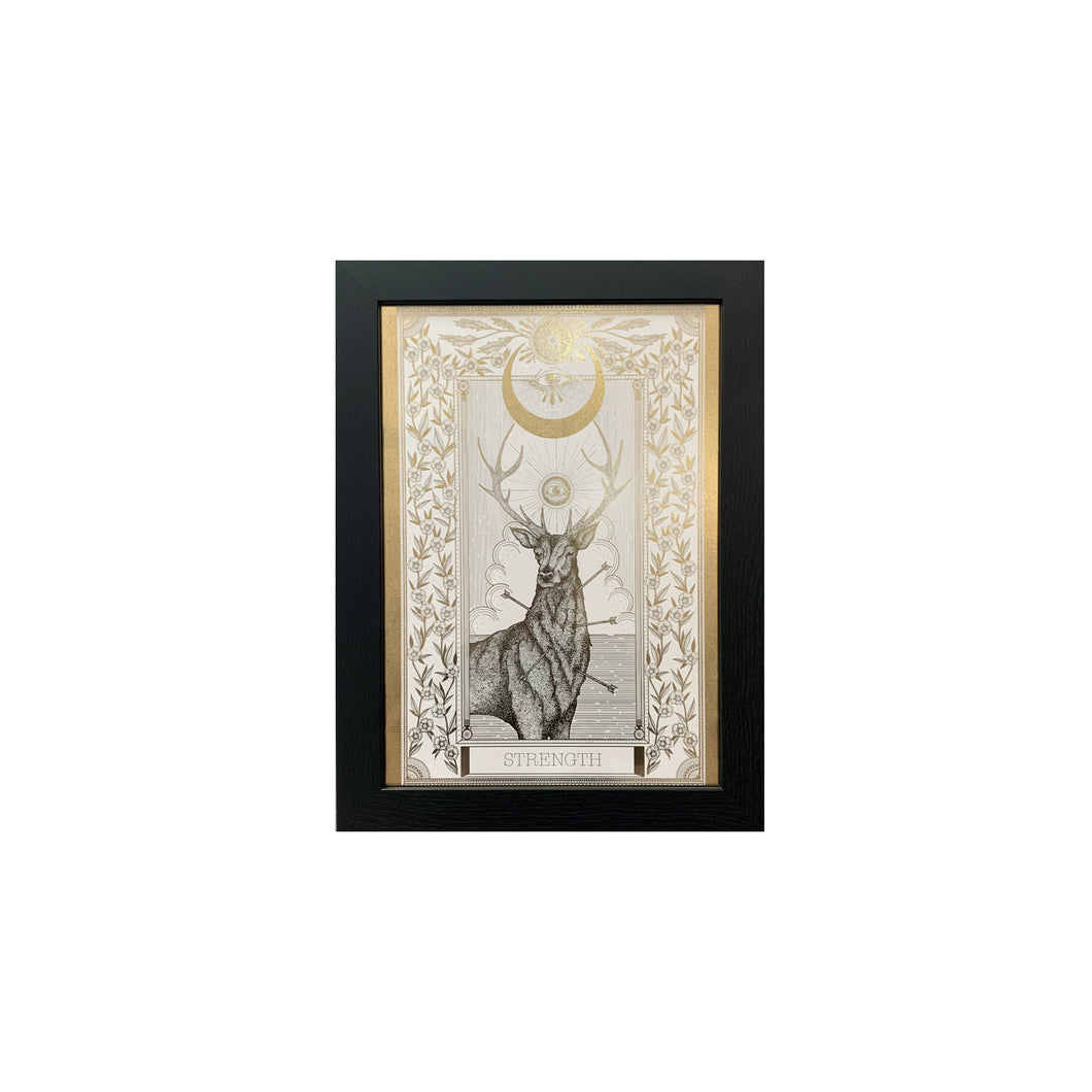 Strength Tarot Print Metallic Gold Limited Edition - abandon-ship-art