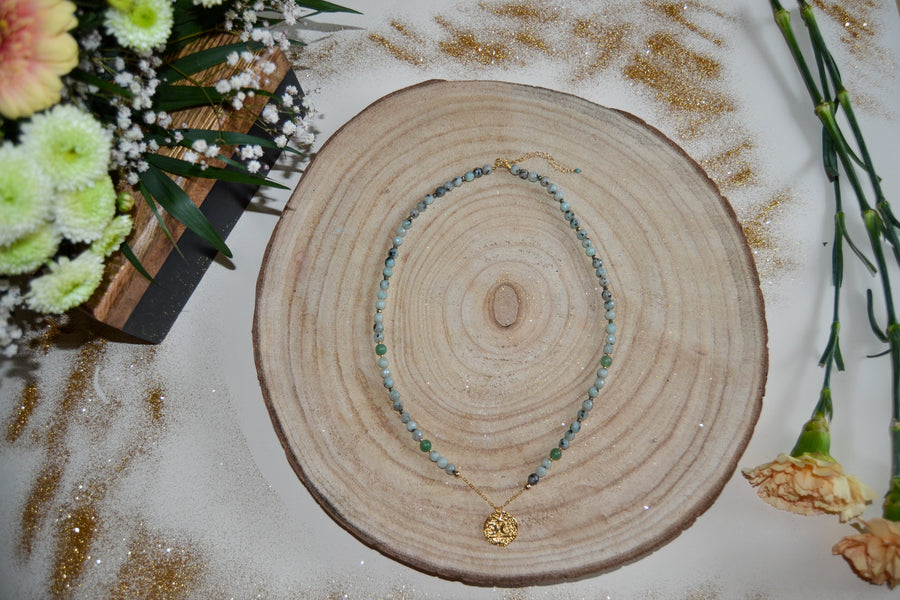 Sesame Jasper, Aventurine, and Pyrite Necklace