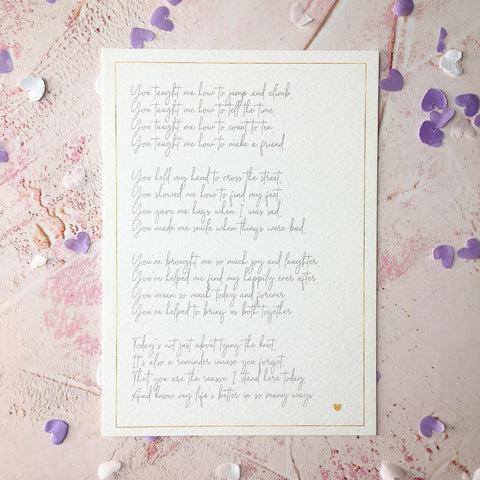 Thank You - Wedding Day Poem Print