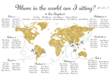 Where In The World Am I Sitting? Travel Theme Wedding Table Plan. Tables are named after places of importance to the couple, and small planes with love hearts on their wings are 'flying' to those locations. Printed A1 on 5mm thick foamex, and can be completely personalised.