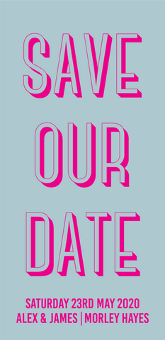 Bold Block Save Our Date / Bookmark Invitation / Wedding Stationery