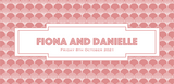Bookmark-style wedding invitation. Back view - Gatsby-style patterned background, with the couple's name and wedding date written in a blush text inside a white geometric box.