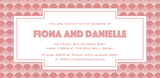 Bookmark-style wedding invitation. Gatsby-style patterned background, with all the wedding details written in a blush text inside a white geometric box.