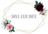 Floral Geometric Frame Save The Date FREE SAMPLE