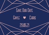 A7 Save The Date, with navy blue background and blush details and text. There is a geometric design at the top and bottom, with the name of the couple and their wedding date centred on the design.