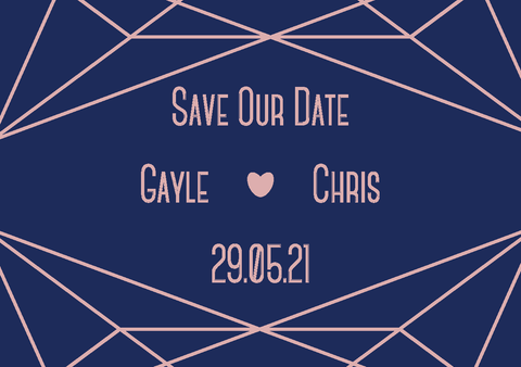 Blush & Navy Geometric Save The Date