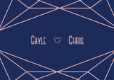 A7 RSVP with full navy blue background and blush text and details. There his a blush geometric design at the top and bottom, with the couple's names separated by a love heart.