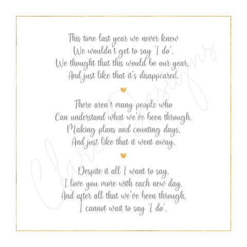'We didn't get to say I do' Card *PRE-ORDER*