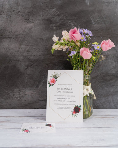 Floral Geometric Frame Invitation