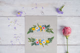 Vintage Grey Floral Wreath Invitation