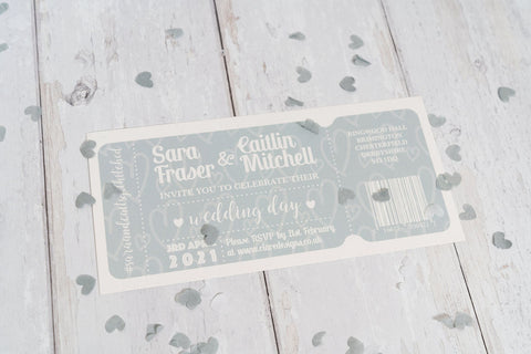 Dusky Blue Ticket-Style Invitation FREE SAMPLE