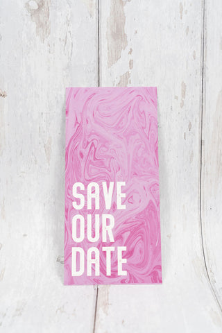 Pink Marble Bookmark Save Our Date
