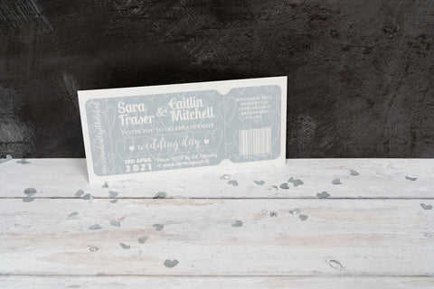 Dusky Blue Ticket-Style Invitation