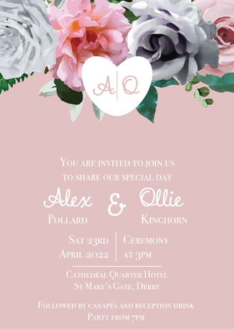 Grey & Blush Day Invitations