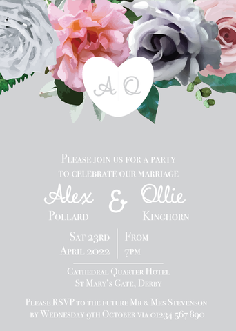 Grey & Blush Evening Invitations