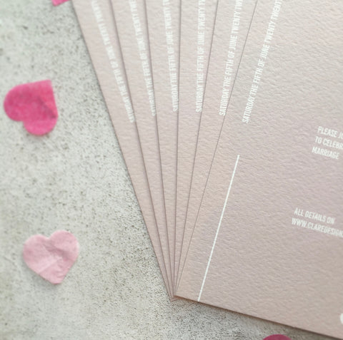 Minimal Wedding Invitation in Champagne