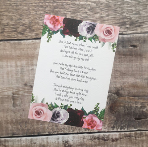 Mother's Day Poem | Mother's Day Gift Ideas | Mum Poem | Mum Personalised Poem