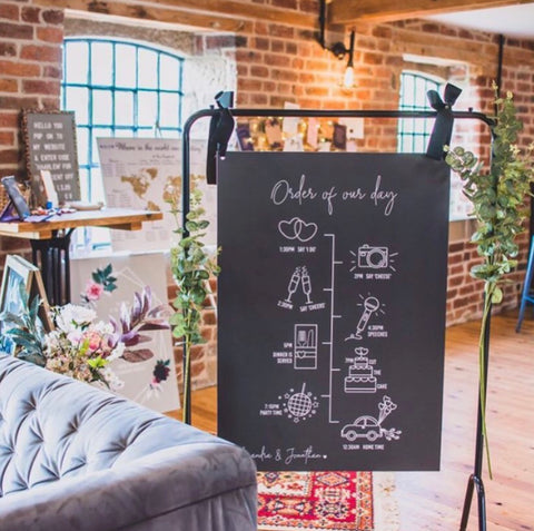 A1 Order of the Day Board with illustrations / Wedding Day Timeline Board / Available in any colour and personalised with your names on the bottom left corner  Edit alt text
