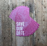 Pink Marble Bookmark Save Our Date FREE SAMPLE