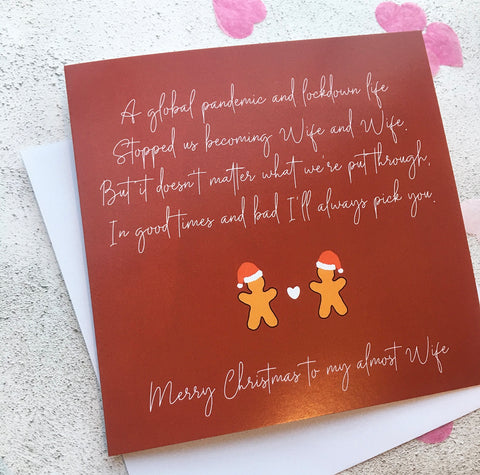 Wife and Wife Postponed Wedding Christmas Card, To My Almost Wife