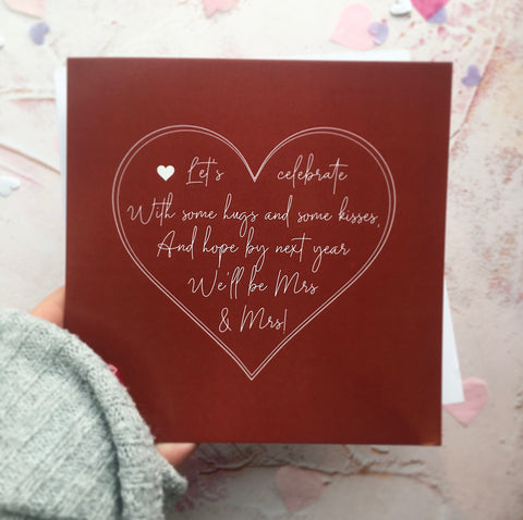 Almost Mrs & Mrs Version - Would be Wedding Day Card with Heart Detail ♥️